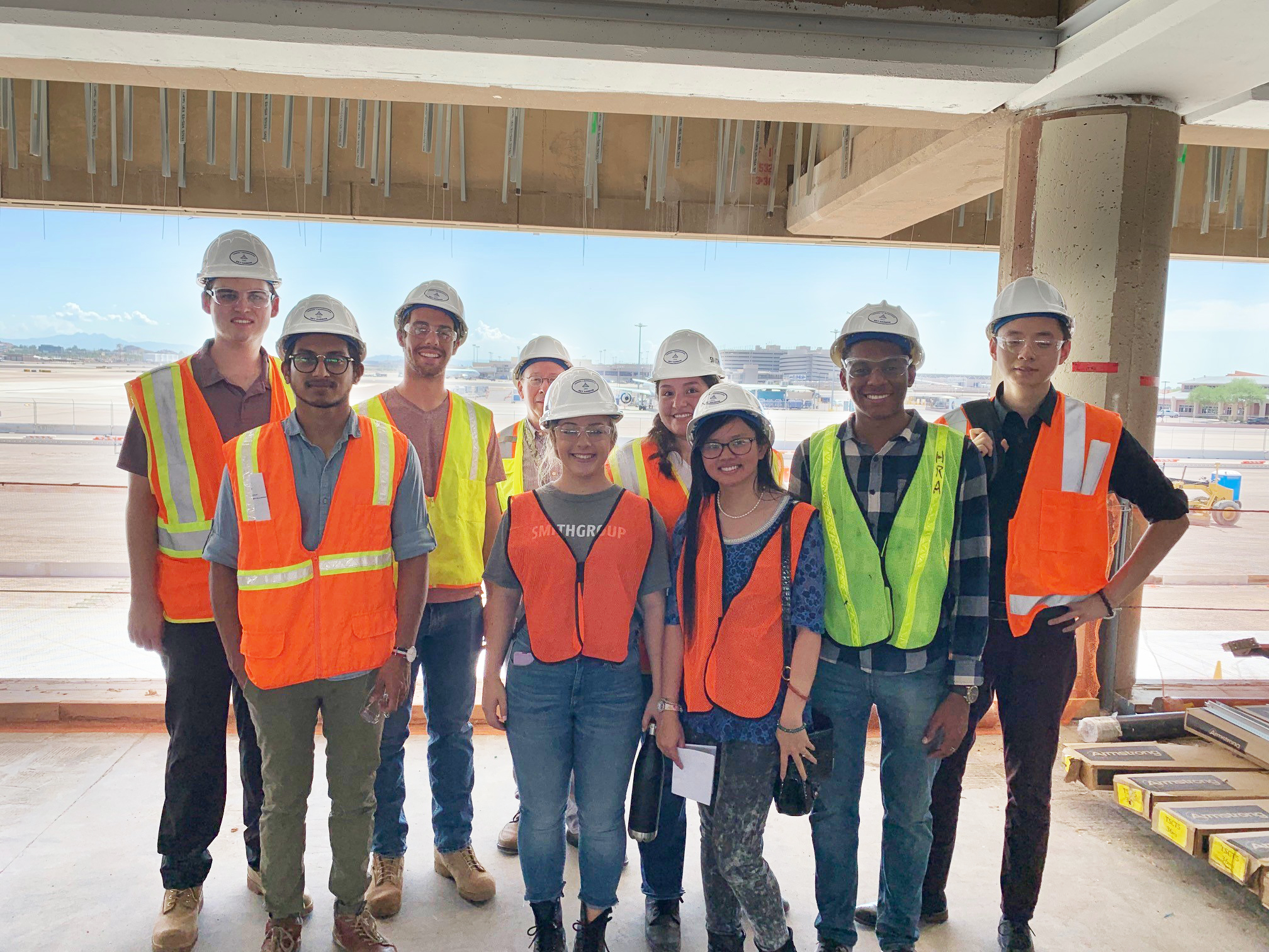SmithGroup Interns on a project site visit