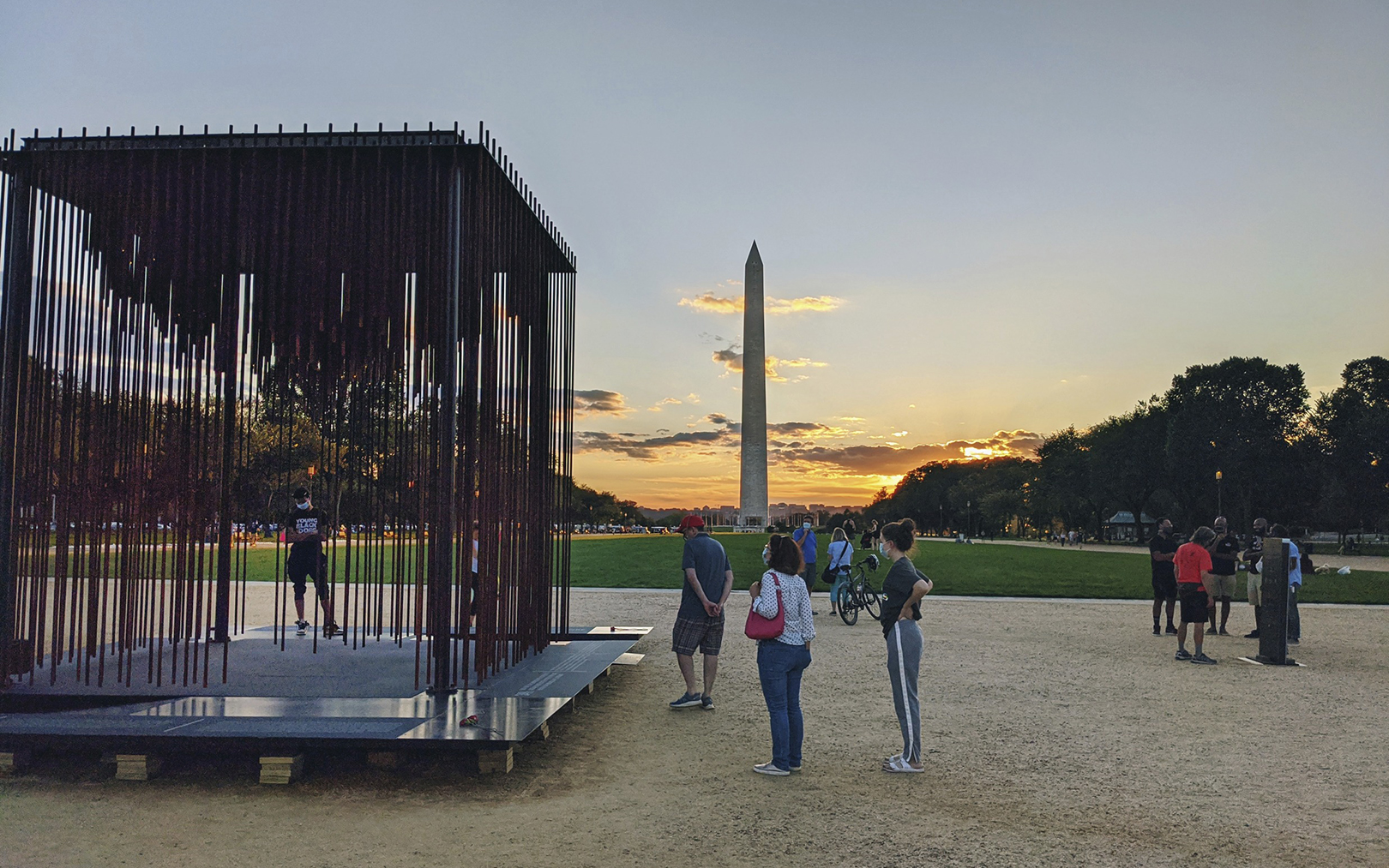 Society's Cage Installation Washington Monument Dusk