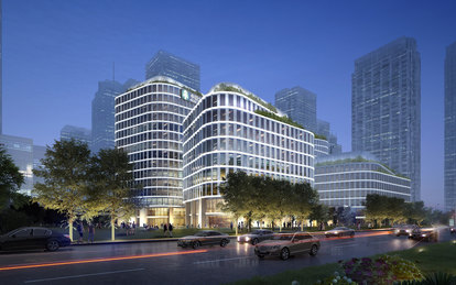TAIPING FINANCIAL TOWER SmithGroup Workplace Office Design Shanghai Exterior Rendering