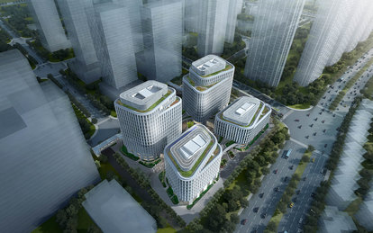 TAIPING FINANCIAL TOWER SmithGroup Workplace Office Design Shanghai Exterior Rendering Birds eye