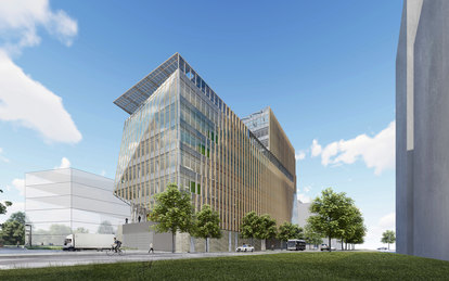 Virginia Tech Innovation Campus Rendering Side view Washington DC Architecture