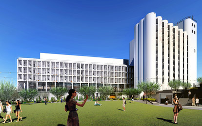 Hayden Flour Mill Redevelopment Tempe rendering Arizona Mixed-Use Hospitality SmithGroup Phoenix